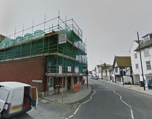 A Google StreetView image of the site of the former Theatre / Wesley Chapel, Hastings - Click to Interact.