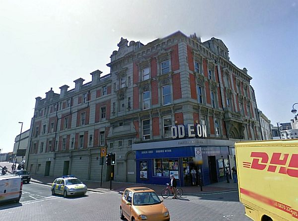 A Google StreetView image of the former Gaiety Theatre, Hastings today - Click to Interact