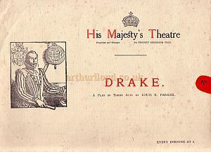 Programme for 'Drake' at His Majesty's Theatre in 1914.