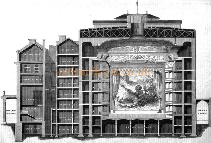 Charles Lee's Architectural Plan of Her Majesty's Theatre, London - From 'The Building News and Engineering Journal' Published in 1869.