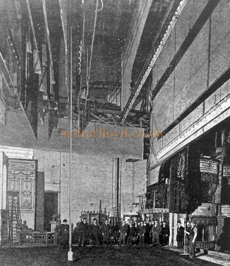 The Stage of Her Majesty's Theatre when it first opened in 1897 - From 'Modern Opera Houses and Theatres' by Edwin O Sachs, Published 1896-1898, and held at the Library of the Technical University (TU) in Delft - Kindly sent in by John Otto.