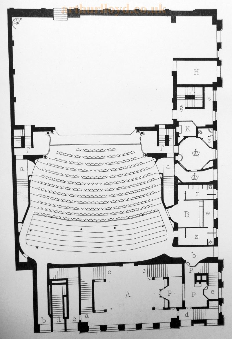A Plan of Her Majesty's Theatre - From 'Modern Opera Houses and Theatres' by Edwin O Sachs, Published 1896-1898, and held at the Library of the Technical University (TU) in Delft - Kindly sent in by John Otto