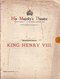 Programme for 'King Henry VIII' at Her Majesty's Theatre during the Reign of Beerbohm Tree.