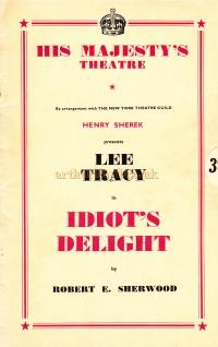A Programme for Lee Tracy and Tatiana Lieven in 'Idiots Delight' at His Majesty's Theatre in 1939 - Kindly Donated by Clive Crayfourd.