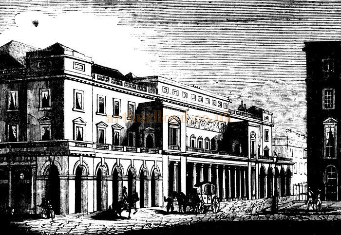 A Sketch of the King's Theatre, later the Italian Opera House from 1830, Haymarket, London - From Lloyd's Illustrated, 1st January 1843.