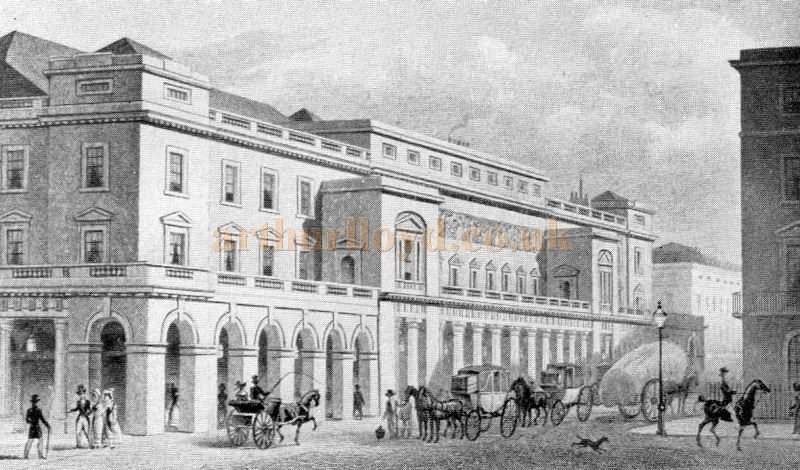 The King's Theatre, later the Italian Opera House in 1830 - From 'The Face Of London' by Harold P. Clunn 1956