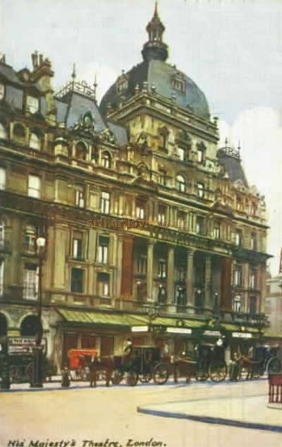 An early postcard depicting the fourth Theatre on the site, here as it was renamed in 1902 to His Majesty's Theatre with the permission of Edward VII .
