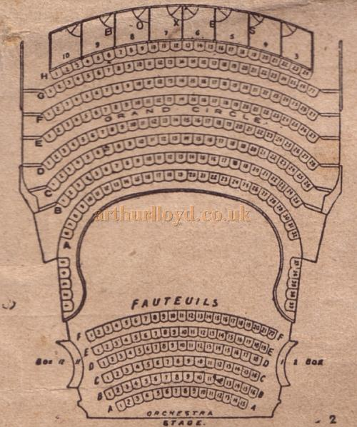 A Seating Plan for the Holloway Empire - From a programme for a Music Hall show at the Theatre for the week beginning 29th of August 1904.