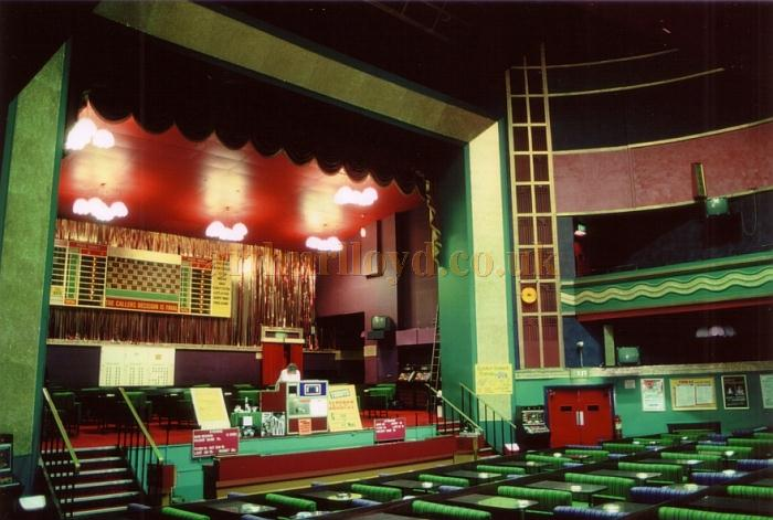 The Stage and Auditorium of the Huddersfield Palace during its Bingo years in 1985 - Courtesy Ted Bottle