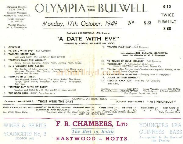 A Programme for 'A Date With Eve' at the Olympia Theatre, Bulwell in October 1949 - Courtesy Alan Chudley.