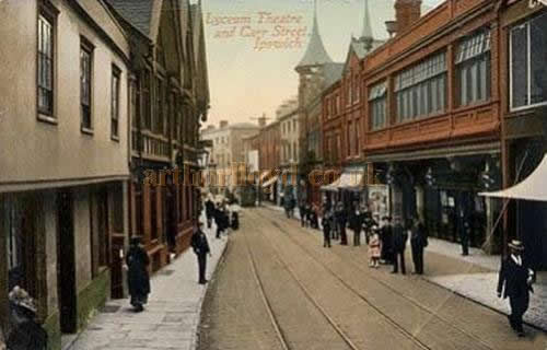 An early colour postcard showing the Lyceum Theatre, Ipswich.