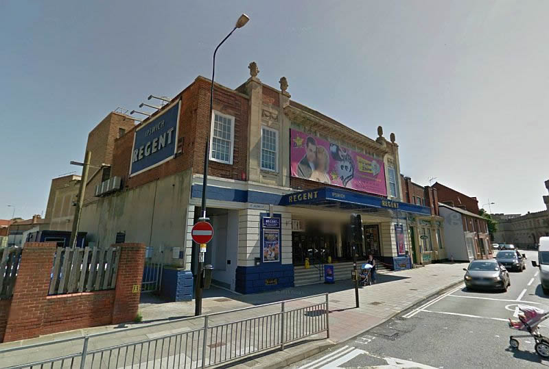 A Google StreetView Image of the Regent Theatre, Ipswich - Click to Interact