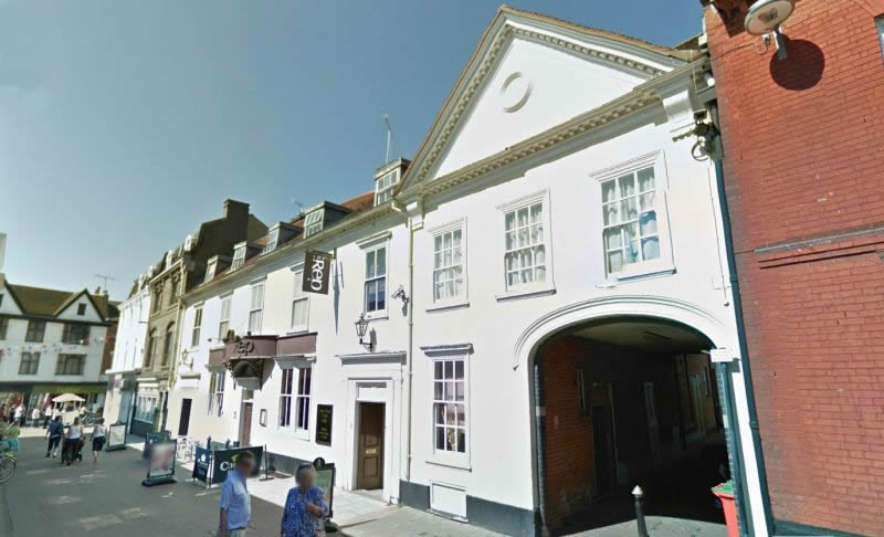 A Google StreetView Image of the Rep Public House, Tower Street, Ipswich. Formerly Pool's Picture Palace / The Arts Theatre - Click to Interact