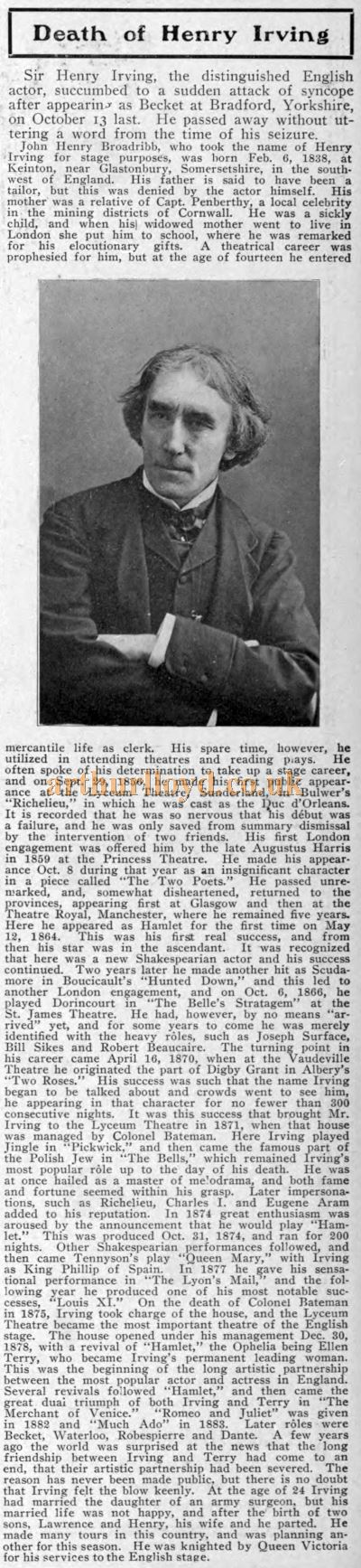 Sir Henry Irving's Obituary 1, Obituary 2, Funeral