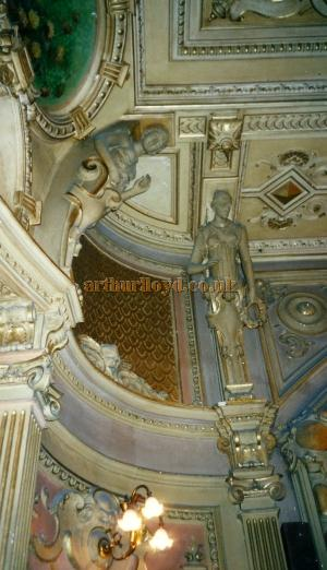 A photograph showing the statues supporting the ceiling at the Gaiety Theatre, Isle of Man - Courtesy David Garratt.