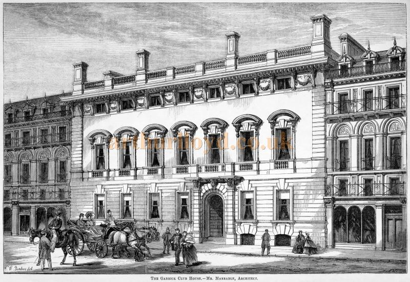 The Garrick Club House - Mr. Marrable, Architect - From 'Building Illustrations Private Houses, Public Buildings and Warehouses'