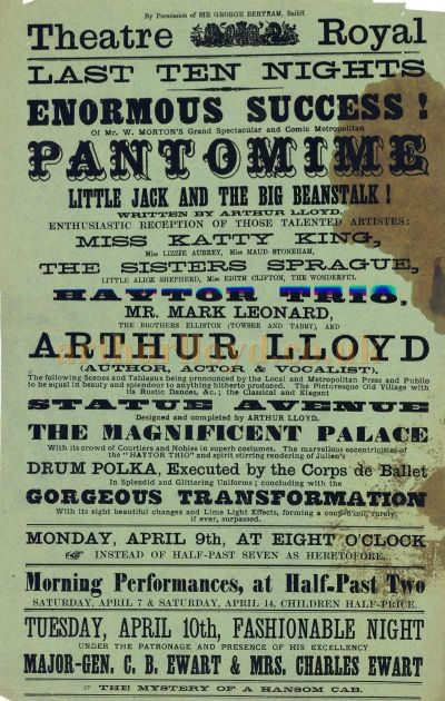 A Poster for Arthur Lloyd's 'Little Jack And The Big Beanstalk' at the Theatre Royal, Jersey in April 1888 - Click to Enlarge.