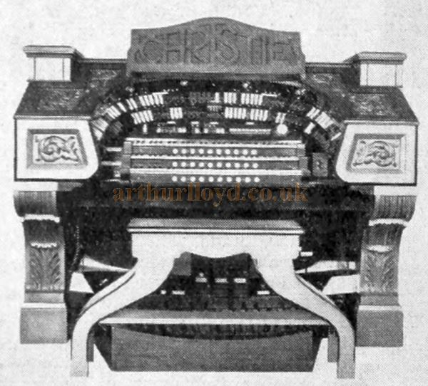 A Christie Organ as installed at the Central Theatre, Kidderminster - From an Advertisement for 'Christie Organs' in the Bioscope, 21st of October 1931.