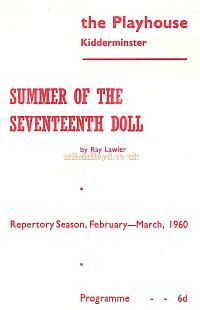 Repertory Programme for 'Summer of the Seventeenth Doll' at the Playhouse Theatre, Kidderminster in Feb / March 1960 - Courtesy The Margaret & Brian Knight Collection.