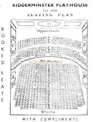 Seating Plan for the Playhouse Theatre, Kidderminster - Courtesy The Margaret & Brian Knight Collection.