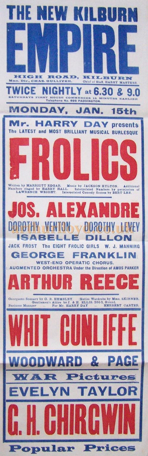 A poster for Harry Day's Musical Burlesque 'Frolics' produced at the Kilburn Empire