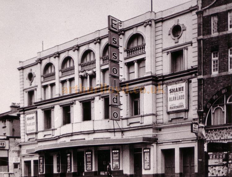 The Essoldo Cinema, Kilburn, formerly the Kilburn Empire Theatre, during the run of the film 'Shane' with Alan Ladd, probably in 1953.