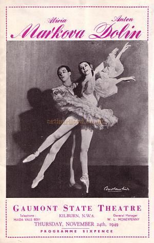 A Gala Performance Ballet Programme with Alicia Markova & Anton Dolin at the Gaumont State, Kilburn in November 1949.