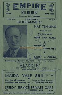 Programme for 'Where The Rainbow Ends' which was at the Kilburn Empire from the 24th of December 1947 to the 10th January 1948 - Courtesy Peter Williams. - Click to see entire Programme.