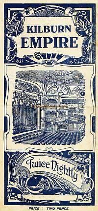 Variety Programme Cover for the Kilburn Empire in 1919 - Click to see details of two Variety shows at the Empire, One with Marie Lloyd, and one with Little Tich.