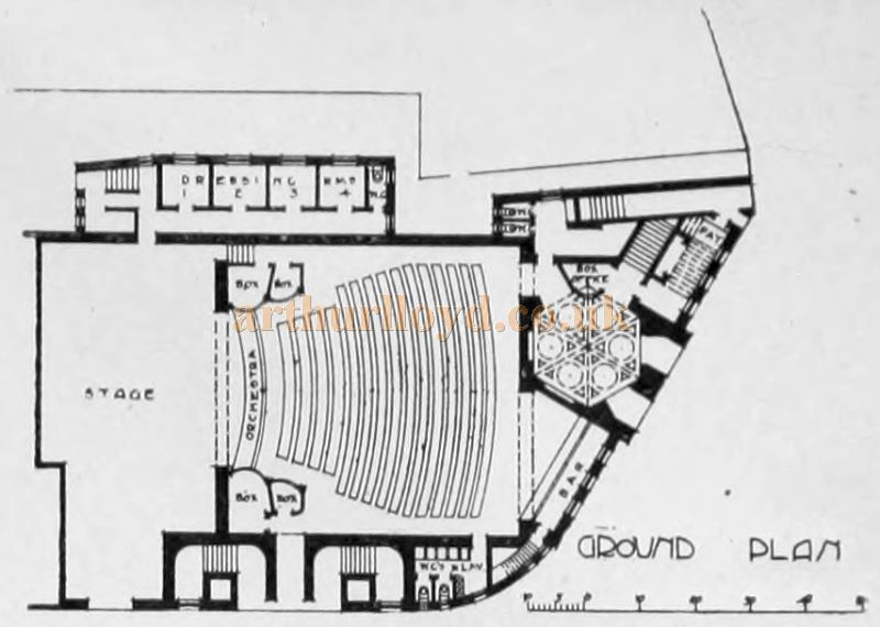 A Ground Plan for the Proposed Kilburn Palace of Varieties (Not Built) - From the Building News and Engineering Journal, May 26th 1899.