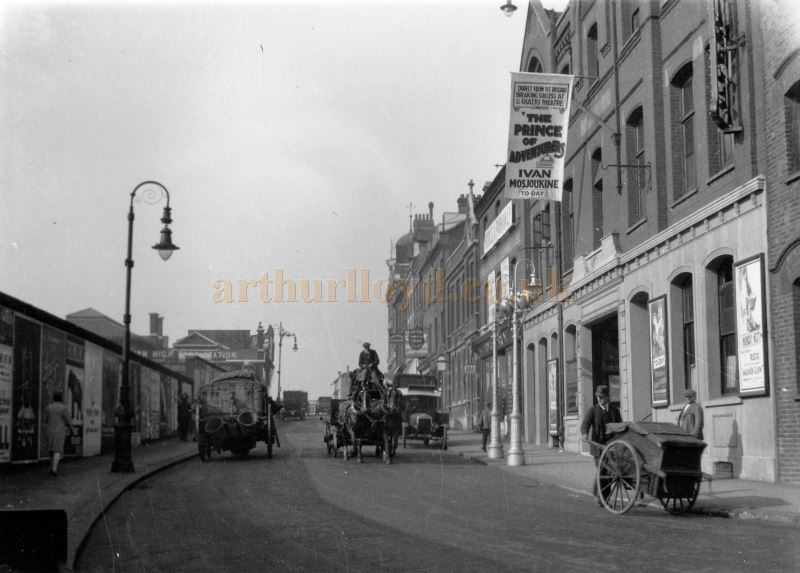 Belsize Road and the Kilburn Palace during the run of the film 'The Prince of Adventurers' circa 1927 - Courtesy Ken Mansfield.