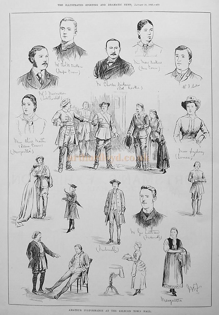 Sketches illustrating Amateur players in a production at the Kilburn Town Hall - From the 'Illustrated Sporting and Dramatic News,' January the 20th, 1883.