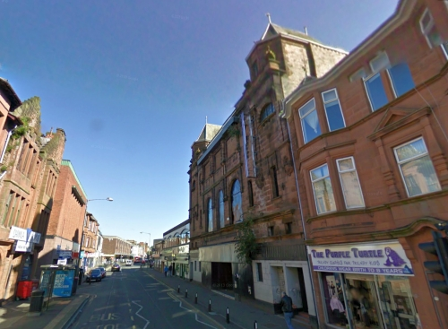 A Google StreetView Image of the former King's Theatre, Kilmarnock - Click to Interact.