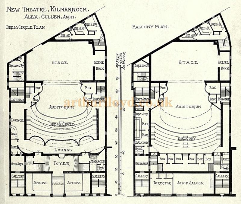 Alex Cullen's Architectural Plans for the King's Theatre, Kilmarnock - From the Academy Architecture and Architectural Review of 1905