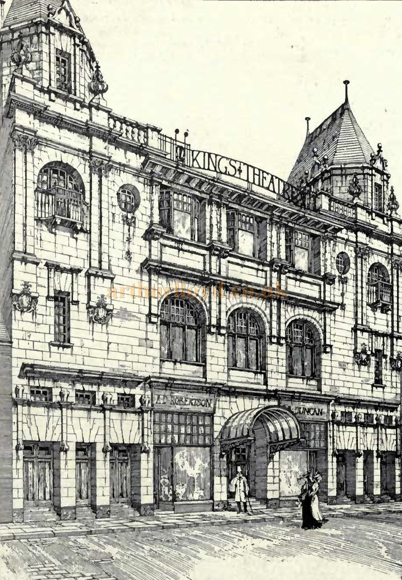 A sketch showing the King's Theatre, Kilmarnock - From the Academy Architecture and Architectural Review of 1905