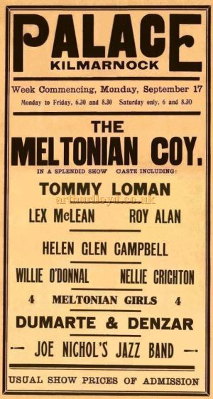 A Playbill for the Palace Theatre, Kilmarnock in the 1930s - Courtesy Colin Calder.