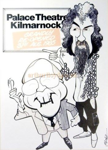 A Cartoon by Malky for the 1 reopening of the Palace Theatre & Grand Hall, Kilmarnock in 1985 with Billy Connolly and Andy Cameron - Courtesy the cartoonist Malky McCormick.