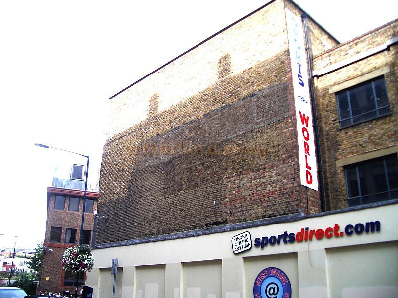 The remains of the fly tower of the 1897 Royal County Theatre, Kingston in September 2009. It is just possible to read part of the name of the Theatre picked out on the Stage Right Wall - Courtesy Roger Fox.
