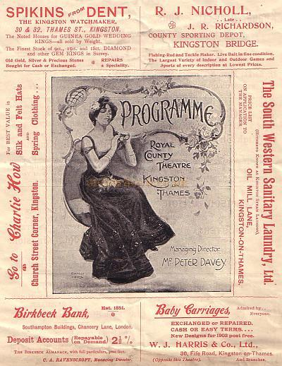 A Programme for the Royal County Theatre, Kingston for the week of September 7th 1903.