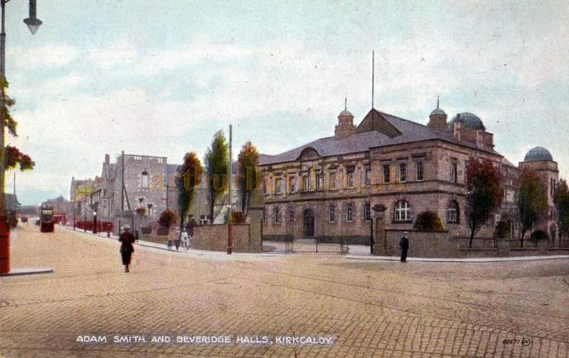 A Postcard showing the Adam Smith & Beveridge Halls, Kirkcaldy in the 1900s - Courtesy Graeme Smith