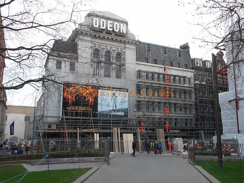 Scaffolding being erected around the former Leicester Square Theatre / Odeon West End, prior to its demolition in March 2015 - Photo M.L