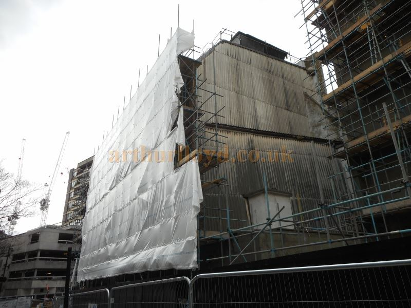 Scaffolding  erected around the stage house of the former Leicester Square Theatre / Odeon West End, prior to its demolition, in April 2015 - Photo M.L.