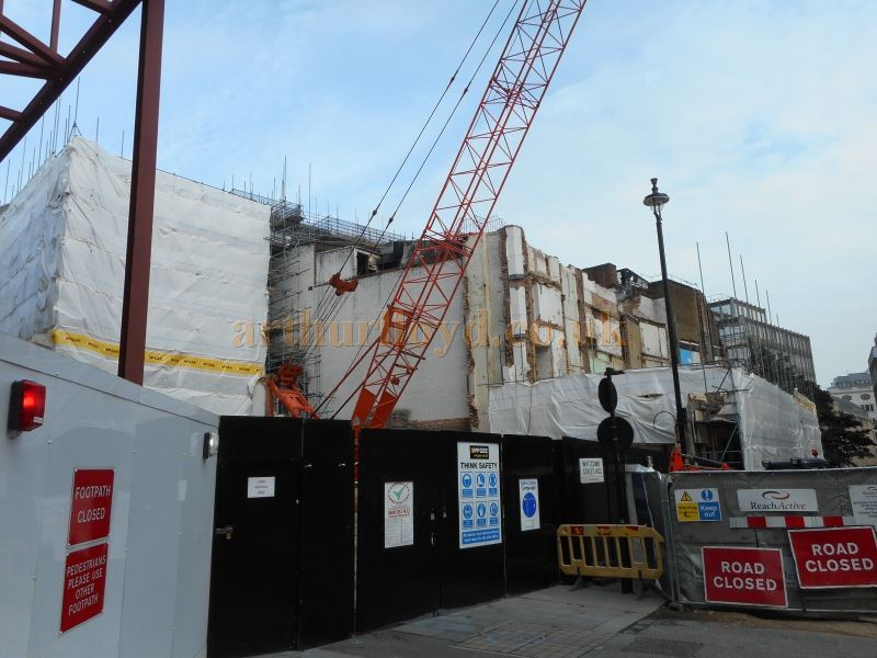 Demolition of the former Leicester Square Theatre / Odeon West End in August 2015. As can be seen in this photograph, the Theatre's Dressing Room Block has now completely gone - Photo M.L.