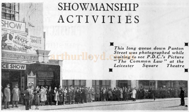 An expectant audience queue for the showing of 'The Common Law' at the Leicester Square Theatre in 1931 - From 'The Bioscope' August 26th 1931.