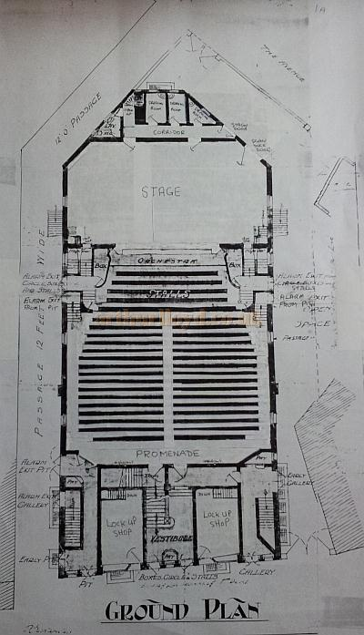 The Ground Plan of the Grand Theatre & Hippodrome, Leigh - Courtesy George Richmond, with kind permission The Leigh Local Studies Wigan Leisure and Culture Trust