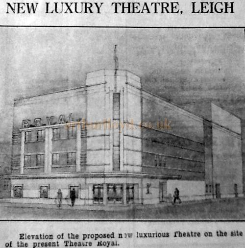 The elevation of the proposed new luxurious Theatre on the site of the present Theatre Royal - From a 1936 cutting - With kind permission Wigan Archive Services.