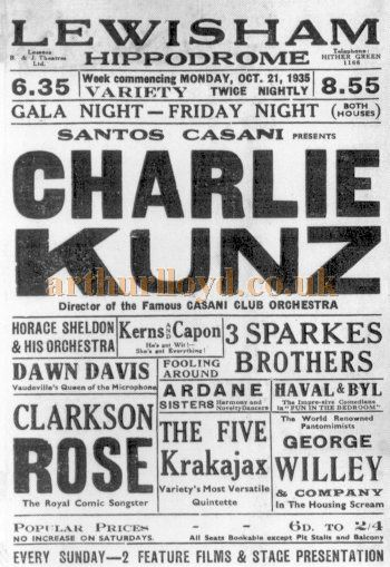 A Poster for Charlie Kunz and other Music Hall acts performing at the Lewisham Hippodrome in October 1935 - Courtesy Keith Hopkins.
