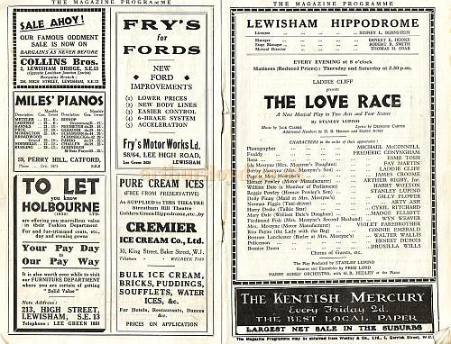 Detail from the Lewisham Hippodrome programme for 'The Love Race' Jan 26th 1931