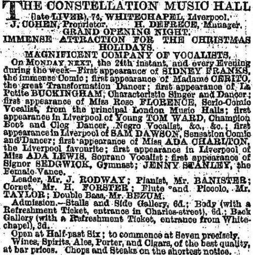 An advertisement for the opening of the Constellation Music Hall, Liverpool - From the Liverpool Mercury, 21st of December 1866.