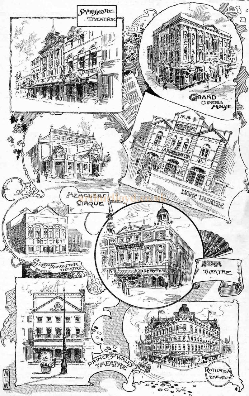 Sketches of many of Liverpool's, Theatres - From 'The Playgoer' of 1901 - Courtesy Iain Wotherspoon.